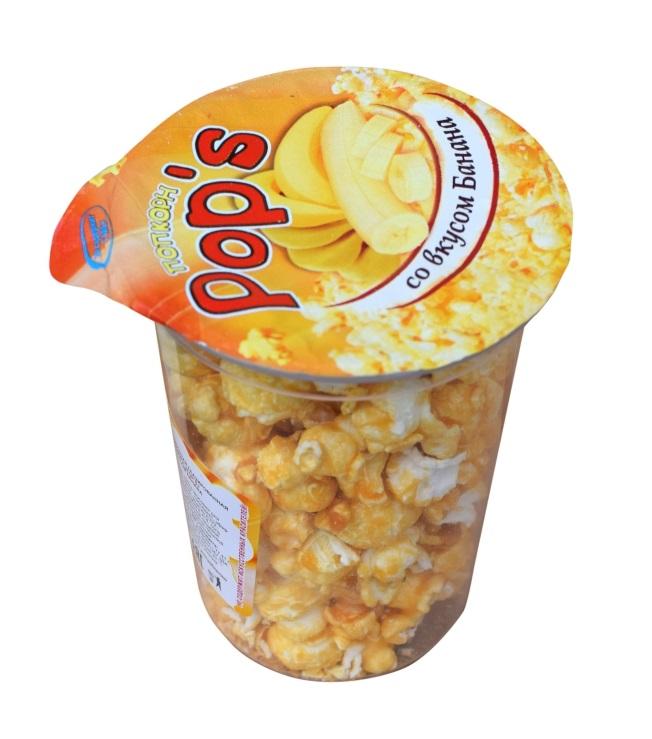 """Кукуруза воздушная """"Попкорн Pop's"""" со вкусом банана, 55 г"""